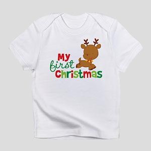 b89f05936169 Santa Reindeer Babies 1st Christmas Infant T-Shirt