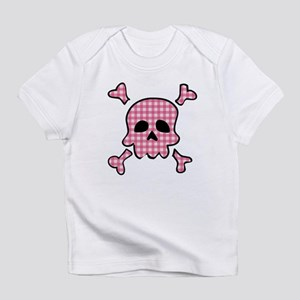 Pink gingham gothic skull Infant T-Shirt