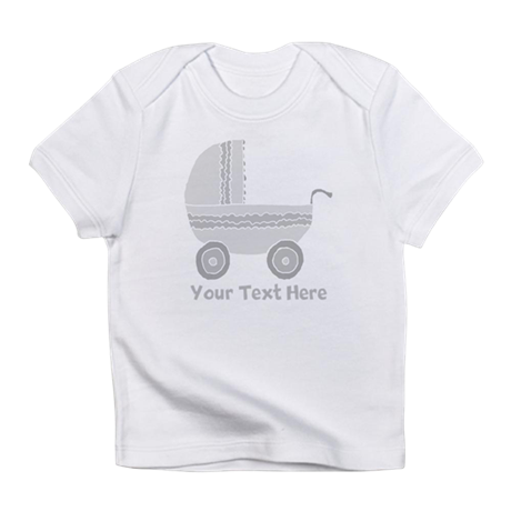 Gray Stroller and Text. Infant T-Shirt