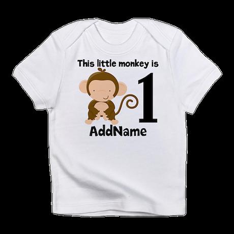 1st Birthday Monkey Personalized Infant T-Shirt
