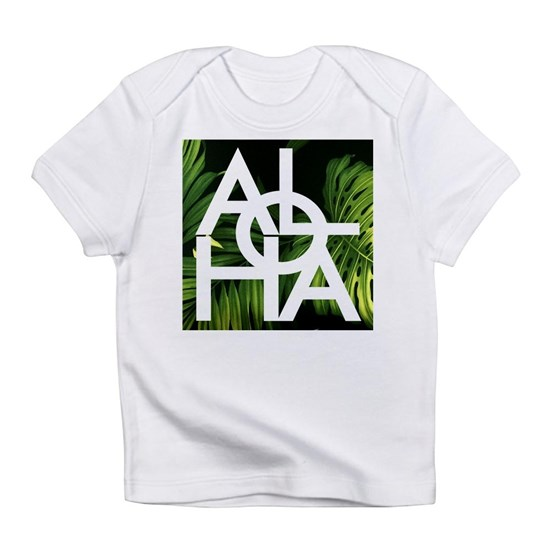 Aloha White Graphic Hawaii Palm Print