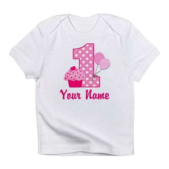 b079071075045 1st Birthday Pink Cupcake Infant T-Shirt by DesignsByManon - CafePress