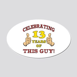 Funny 13th Birthday For Boys 20x12 Oval Wall Decal