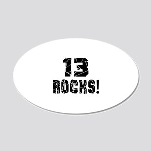 13 Rocks Birthday Designs 20x12 Oval Wall Decal