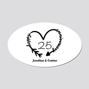 Custom Anniversary Doodle He 20x12 Oval Wall Decal