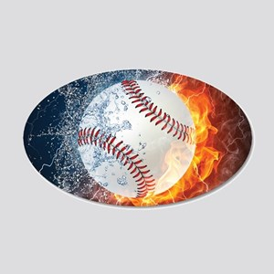 Baseball Ball Flames Splash Wall Sticker