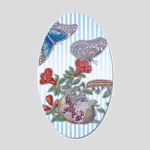 Blue Morpho Butterfly On Pom 20x12 Oval Wall Decal