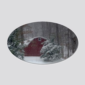 Red Barn in the Snow Wall Decal