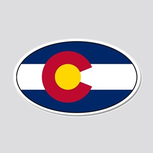 Colorado Flag Stickers 20x12 Oval Wall Peel