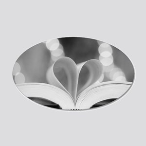 Book Heart 20x12 Oval Wall Decal