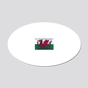 Wales Flag 20x12 Oval Wall Decal