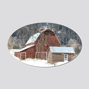 The Laclede Barn on a winters day 20x12 Oval Wall