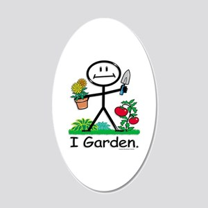 Gardening Stick Figure 20x12 Oval Wall Decal
