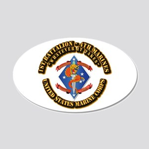 1st Bn - 4th Marines with Text 20x12 Oval Wall Dec