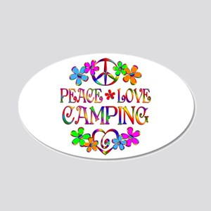 Peace Love Camping 20x12 Oval Wall Decal