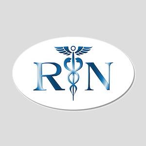 RN Nurse Caduceus 20x12 Oval Wall Peel