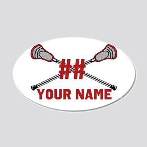Personalized Crossed Lacrosse Sticks with Red 20x1