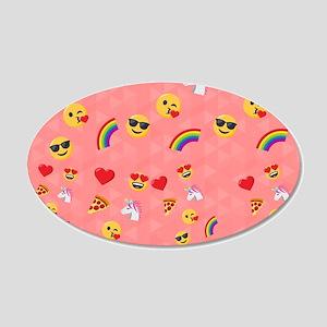 Emoji Pink Pattern 20x12 Oval Wall Decal