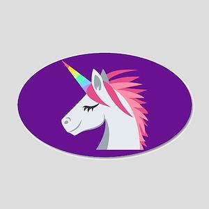 Unicorn Emoji 20x12 Oval Wall Decal