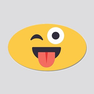 Winky Tongue Emoji Face 20x12 Oval Wall Decal