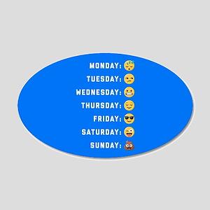 Emoji Days of the Week 20x12 Oval Wall Decal