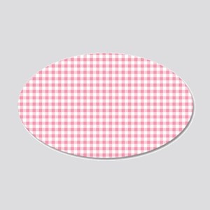 Pink Gingham Pattern 20x12 Oval Wall Decal
