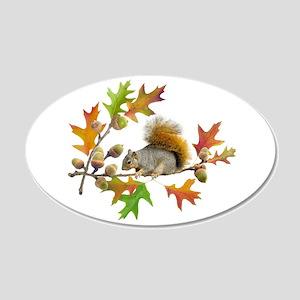 Squirrel Oak Acorns 20x12 Oval Wall Decal