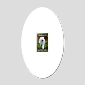 Samoyed Dog Christmas 20x12 Oval Wall Decal