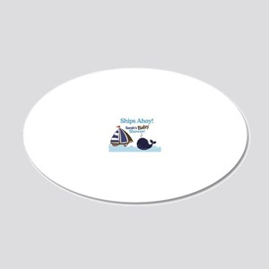 Ships Ahoy Whale  Sailboat B 20x12 Oval Wall Decal