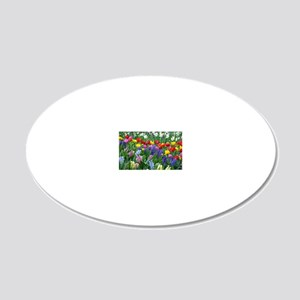 Spring garden flowers 20x12 Oval Wall Decal