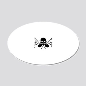 Skull and Pipes 20x12 Oval Wall Decal