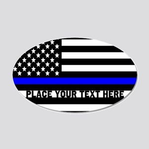 Thin Blue Line Flag 20x12 Oval Wall Decal
