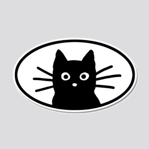Black Cat Face 20x12 Oval Wall Peel