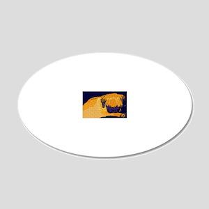 Sleeping Pug Puppy 20x12 Oval Wall Decal