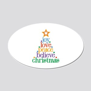 Joy Love Christmas 20x12 Oval Wall Decal
