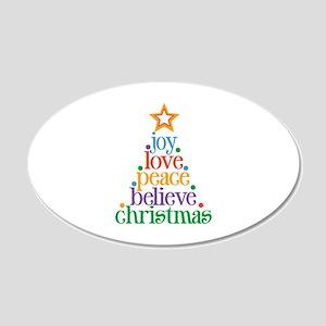 Joy Love Christmas 20x12 Oval Wall Decal