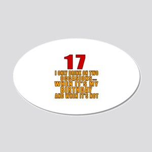 17 birthday Designs 20x12 Oval Wall Decal