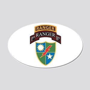 1st Ranger Bn with Ranger Tab 20x12 Oval Wall Peel