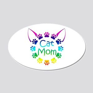 """""""Cat Mom"""" 20x12 Oval Wall Decal"""