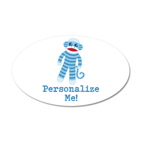 Baby Blue Sock Monkey 20x12 Oval Wall Decal