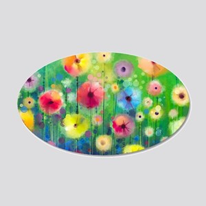Watercolor Flowers 35x21 Oval Wall Decal