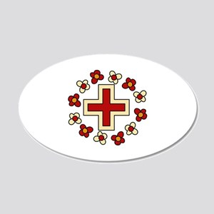 Floral Red Cross Wall Decal