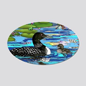 Loons and Lilies 35x21 Oval Wall Decal
