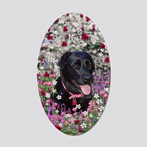 Abby the Black Lab in Flower 35x21 Oval Wall Decal