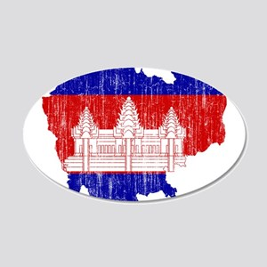 Cambodia Flag And Map 35x21 Oval Wall Decal