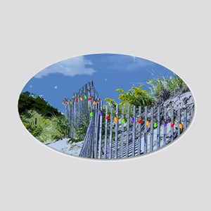 Beach Dune and Fence with Xm 35x21 Oval Wall Decal