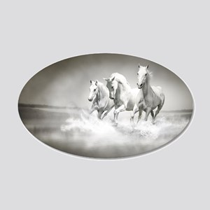 Wild White Horses 35x21 Oval Wall Decal
