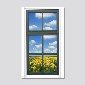 Holland Spring Tulips Faux Window View Wall Decal