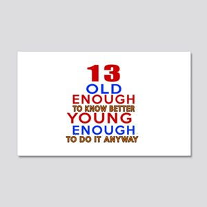 13 Old Enough Young Enough Birthd 20x12 Wall Decal
