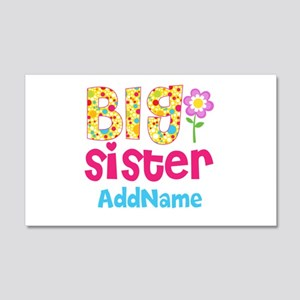 Big Sister Pink Teal Floral Perso 20x12 Wall Decal